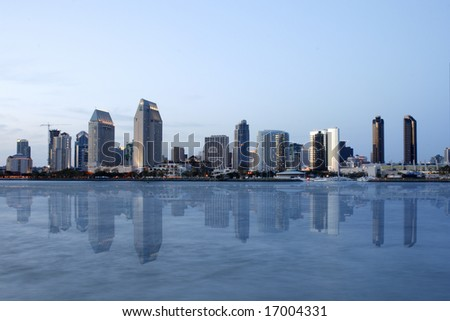 Sunset. Reflection San Diego downtown, CA. From Harbor Island - stock photo