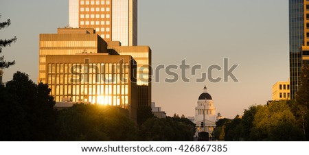 Sunset Reflects Off Buildings Downtown Sacramento California Capital - stock photo