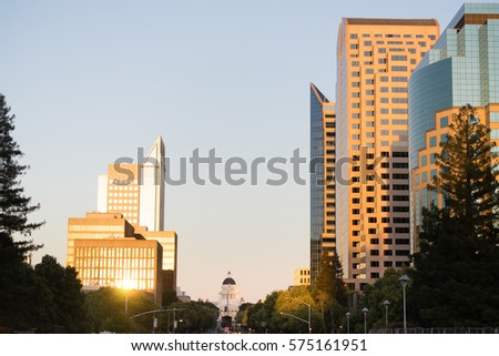 Sunset Reflects Off Buildings Downtown Sacramento California Capital