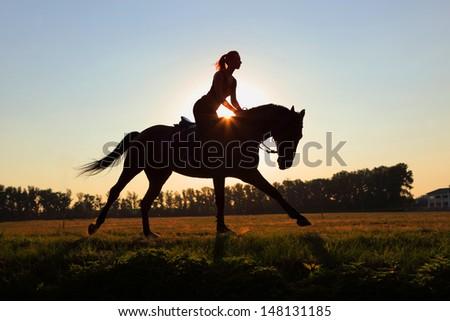 Sunset rider - stock photo