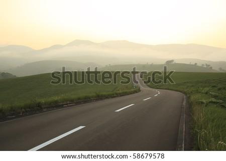 sunset road - stock photo