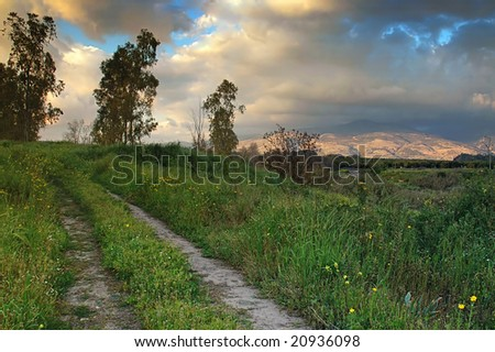 Sunset, road and the sky - stock photo