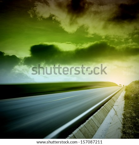 Sunset road distance - stock photo
