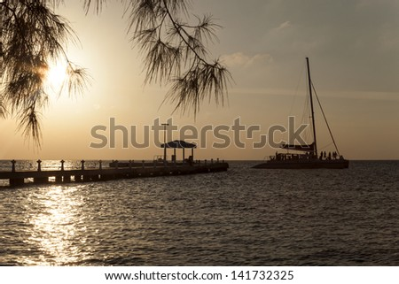 Sunset - Rum Point, Grand Cayman - stock photo