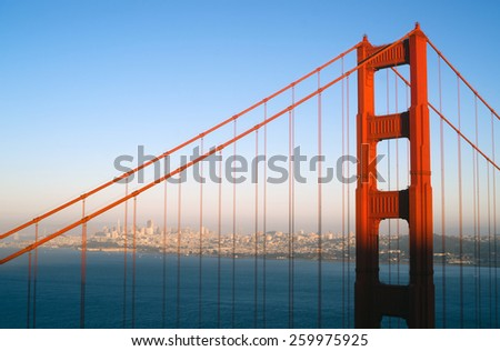 Sunset San Francisco Golden Gate Bridge Pacific Ocean West Coast - stock photo