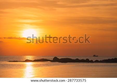 Sunset scene in koh phangan, Surat Thani, Thailand - stock photo