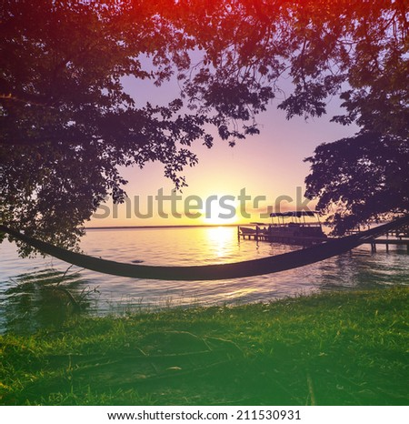 Sunset scene on lake