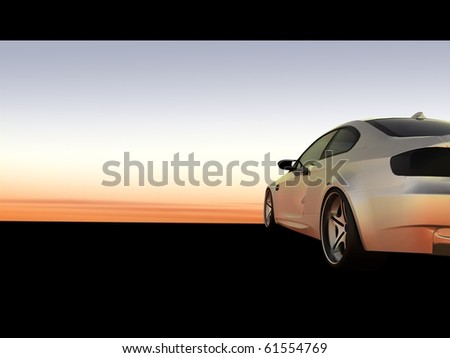 Sunset Scene, Silver business executive sports car / sportscar - Cropped Shot - stock photo