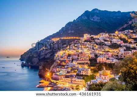 Sunset scenery  of Positano village at Amalfi Coast, Campania, Italy. - stock photo