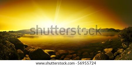 Sunset. Sea cliff in blue lagoon. Kola Peninsula. Teriberka. Atlantic Ocean - stock photo