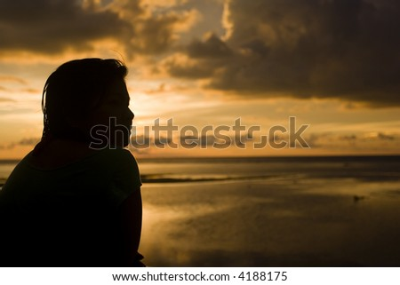 sunset silhouette - stock photo