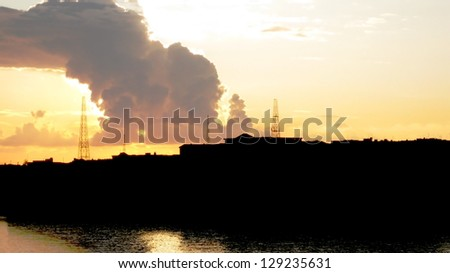 Sunset silhouette of Malta - stock photo