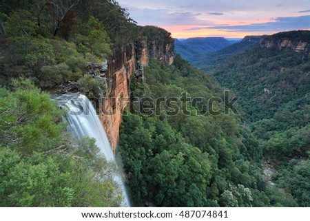 Sunset skies over Fitzroy Falls, Southern Highlands NSW Australia.  Morton National Park
