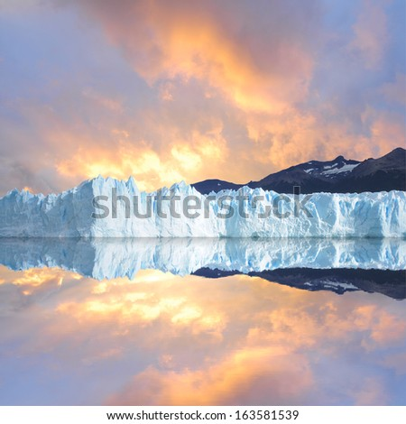Sunset sky above the glacier.  - stock photo