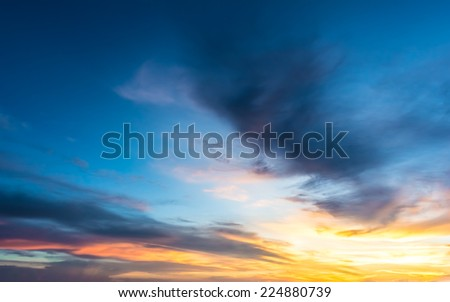 Sunset sky and cloud. - stock photo