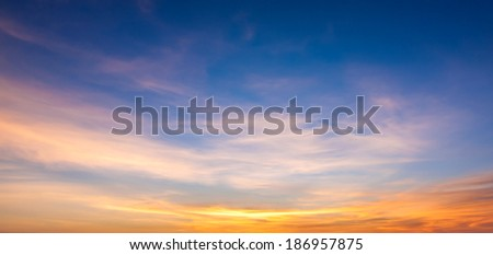 Sunset sky and cloud background - stock photo