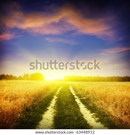 Sunset sky and rural road. - stock photo