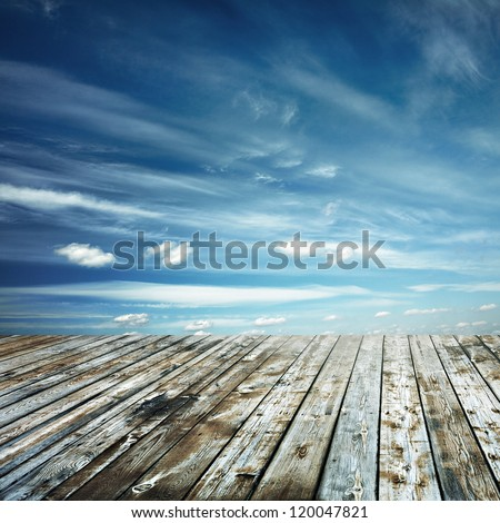 sunset sky and wood floor, background - stock photo