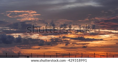 sunset sky background - stock photo