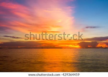sunset sky background. - stock photo