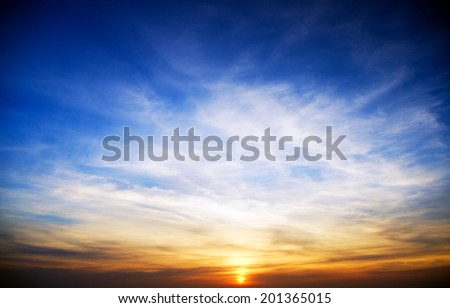 Sunset sky background and clouds. Nature composition. - stock photo