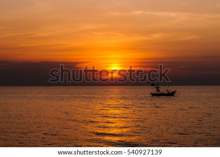 Sunset sky background on the Ocean.
