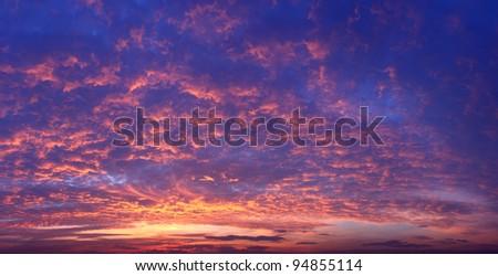 Sunset Sky dramatic panorama background - stock photo