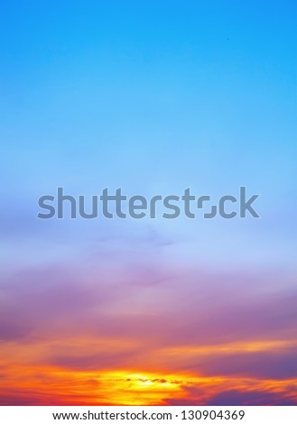 Sunset sky for background - stock photo