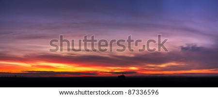 sunset sky in a city - stock photo