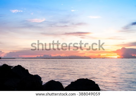 sunset sky on the beach background   - stock photo