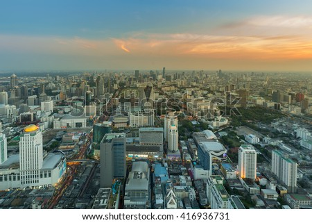 Sunset sky over city business area aerial view, Bangkok Thailand - stock photo