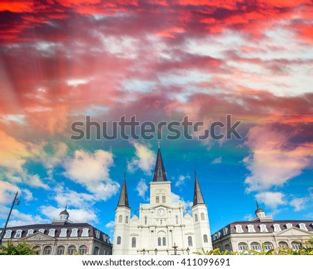 Sunset sky over Jackson Square in New Orleans, Louisiana. - stock photo