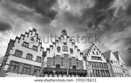 Sunset sky over Roemerberg Square buildings in Frankfurt. - stock photo