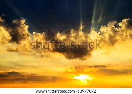 sunset sky, sun - stock photo