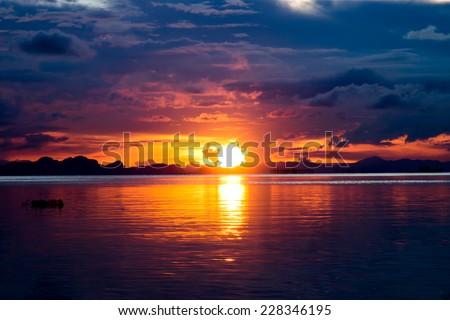 sunset sky, unfocused - stock photo