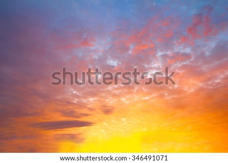 sunset sky with cloud
