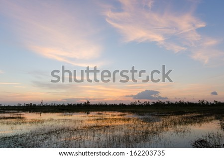 sunset sky with clouds - stock photo