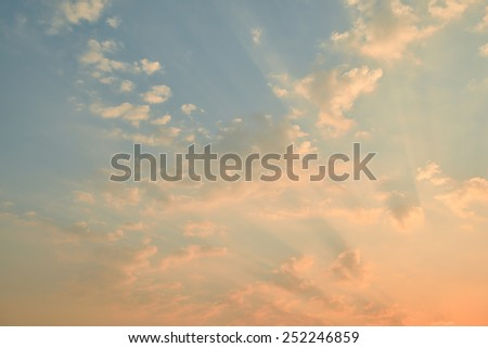 sunset sky with clouds  and golden light - stock photo