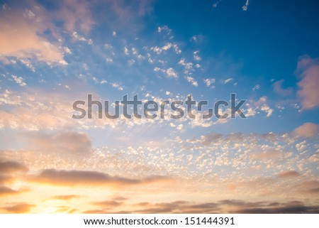 Sunset Sky with Clouds San Diego, California - stock photo