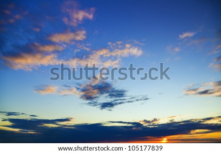 sunset sky with lighted clouds. Nature composition. - stock photo