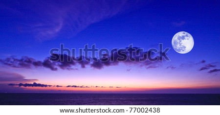 sunset sky with moon