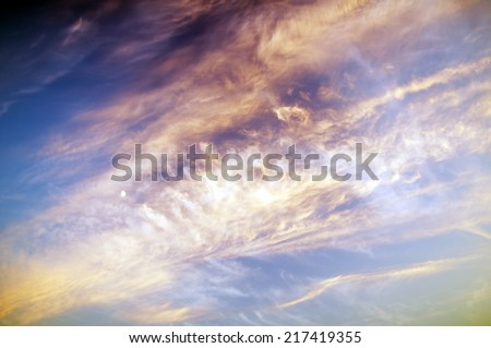 sunset sky with moon. Nature composition. - stock photo