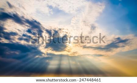 Sunset sky with ray light - stock photo