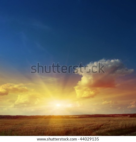 Sunset sky with rays of light over field. - stock photo