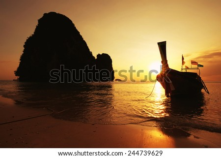 Sunset summer landscape in the mountain and sea , Krabi , Thailand