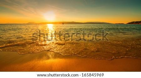 sunset sunny beach - stock photo