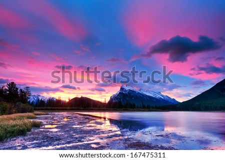 Sunset sunrise above Vermilion Lakes, Banff National Park, Canada - stock photo