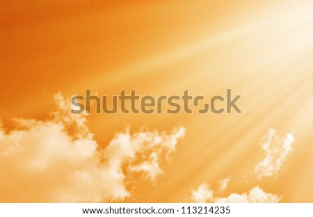 Sunset / sunrise with clouds, light rays - stock photo