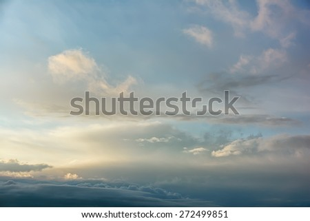 Sunset / sunrise with clouds on sky - stock photo
