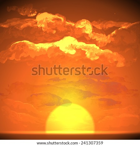 Sunset, Sunrise With Clouds. Painting Picture - stock photo